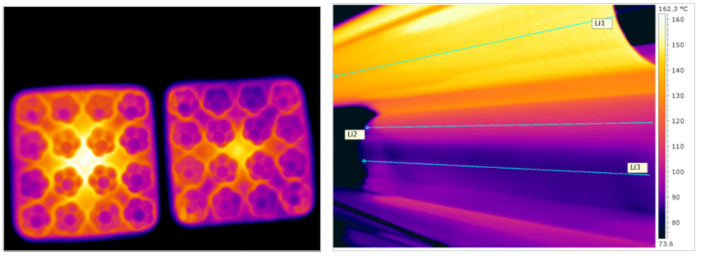 Exempel: Bilden till höger visar ursprunglig temperaturprofil i ett 2-facks formverktyg som efter balansering fick en sänkt cykeltid från 16,7 till 13,7 sek.